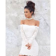 white lace dress white lace shoulder sleeves dress