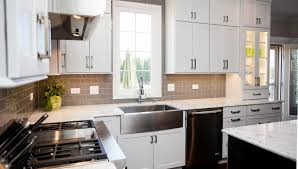 Steel Tile Backsplash by Kitchen Style White Wooden Cabinet Also Table With Granite