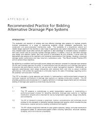 appendix a recommended practice for bidding alternative drainage