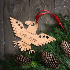 eagle wooden christmas ornament graphic spaces
