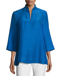 weskit blouse blue silk blouse neiman