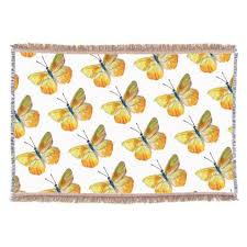yellow butterfly watercolor throw blanket butterfly watercolor