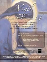 bishop invites the faithful to vigil at wsu newman center nov 27