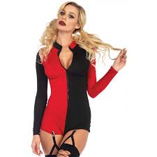 harlequin two tone romper clubwear costume cosplay