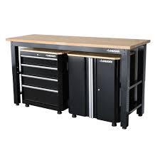 husky 42 in h x 72 in w x 24 in d steel garage cabinet set in