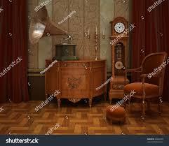 grandfather s clock classical interior grandfathers clock gramophone stock photo
