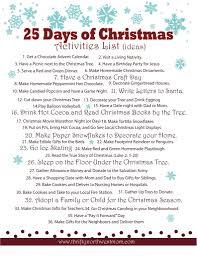 celebrating the 25 days of christmas activities list christmas