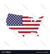 Flags Of United States Usa Flag In A Shape Of Us Map Silhouette United Vector Image