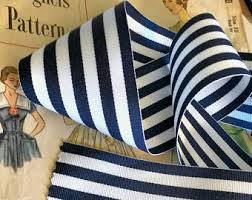 blue and white striped ribbon stripe ribbon etsy