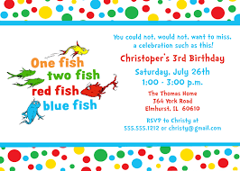 seuss one fish two fish birthday party invitation turquoise red