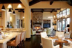 Open Floor Plan Kitchen Dining Room Farmhouse Great Room Decorating Ideas Dining Room Rustic With Open