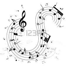 silhueta v rias notas musicais e as pessoas dan a vetor royalty
