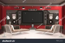 home cinema interior design modern home cinema interior red walls stock vector 718662847