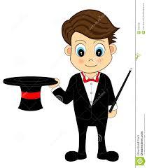 magicien mignon de dessin animé avec le chapeau et la baguette