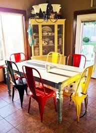colorful dining chairs with white round dining table decolover net