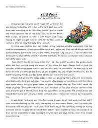 yard work reading comprehension worksheet