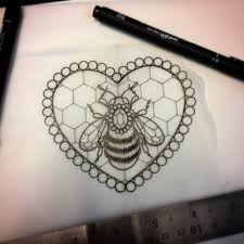 uncolored bee decorated with jem and honeycomb heart in beaded