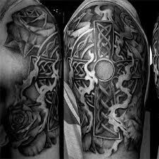 mens celtic cross half sleeve tattoos