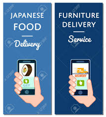 delivery service app japanese food and furniture delivery flyers smartphone screen