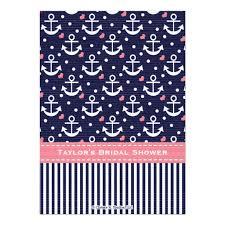 Nautical Bridal Shower Invitations Pink Navy Blue Nautical Bridal Shower Invitation Card