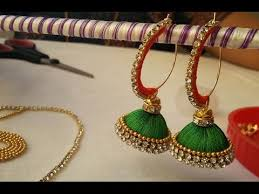 half ring half ring multi color jhumkas and bangles diy with silk