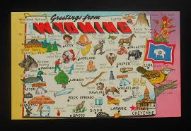 State Map Games by 1960s Postcard State Map Of Wyoming Landmarks Icons Flower Bird