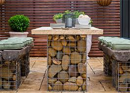 home dzine gabion style outdoor table set use gabion baskets