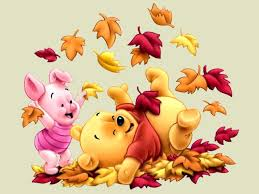 disney autumn piglet and winnie the pooh among leaves wallpaper