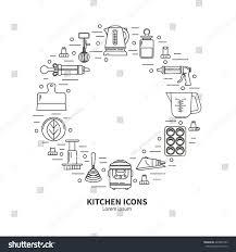 set kitchen utensils items baking cookware stock vector 429846703