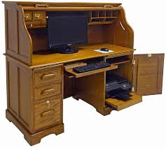 Roll Top Computer Desks 59 W Oak Roll Top Computer Desk In Stock