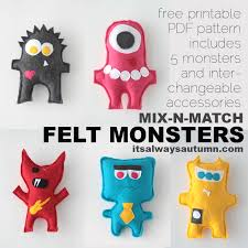 free easy sewing pattern for felt monster dolls felt monster