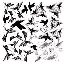 hummingbirds black enamel decals white delphi glass