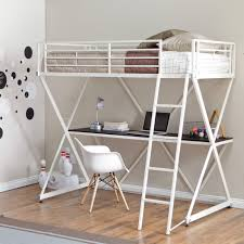 White Metal Bunk Bed Bed Bath White Metal Loft Bunk Beds With Desk And Stool For