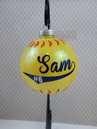 softball ornament personalized 4 circle glass ornament
