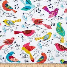 michael miller flock birds white from fabricdotcom from michael