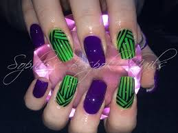 acrylic nails l neon purple u0026 green l nail design youtube