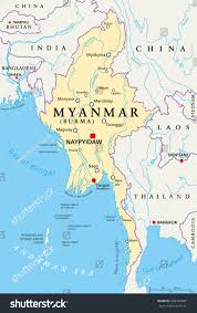 India Political Map Myanmar Political Map Capital Naypyidaw National Stock