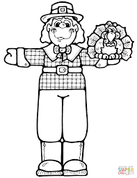 pilgrim boy with turkey coloring page free printable coloring pages