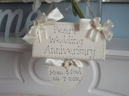 wedding anniversary plaques wedding anniversary plaque personalised gift for pearl anniversary