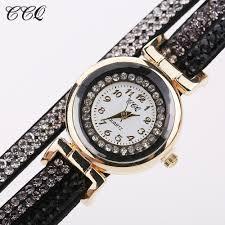 leather ladies bracelet images Ccq 2016 new fashion casual quartz women rhinestone watch braided jpg