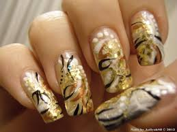 ombre nail art cool nail designs sheknows this gold blue and