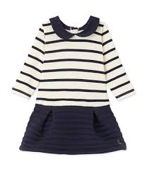 robe de chambre petit bateau fille robe bébé fille bi matière à rayures beige coquille bleu