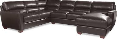 Brown Leather Sectional Sofa Three Piece Contemporary Leather Sectional Sofa With Raf Chaise By