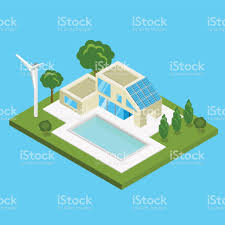 flat isometric modern alternative energy efficient building vector