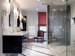 black and white bathroom with distinct hues