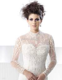 Wedding Dress Jackets 2017 2017 High Collar Cheap Sheer Long Sleeves White Ivory Beads