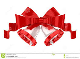 white christmas bells with red ribbon royalty free stock