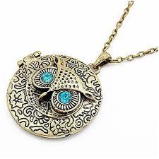 owl jewelry necklace images Wholesale fashion retro owl necklaces bronze cute round blue eye jpg
