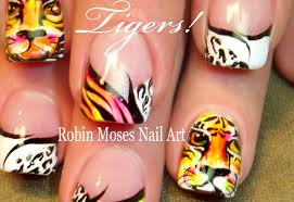 tiger nail art diy neon animal print summer nails design