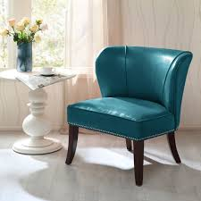 furniture classic blue leather wingback chair with brown wall